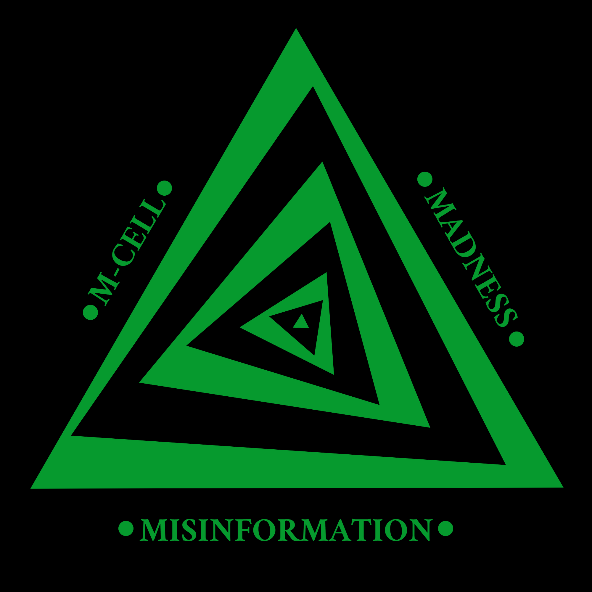 M-Cell logo, a series of green and black triangles layered on top of one another, alternating while getting smaller and slowly rotating inwards. Around the outside are the words M-Cell, Madness, and Misinformation in green text.